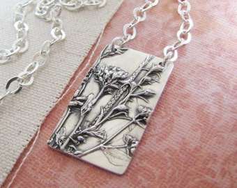 Delight Necklace, Fine and Sterling Silver, Natural Plant Reproduction, Handmade Original and Exclusive by SilverWishes, Recycled Silver