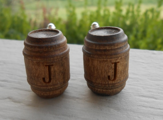 MONOGRAM BEER BARREL Cufflinks. Wood. Wedding, Men's, Groomsmen Gift, Dad. Silver Plated. Custom Orders Welcome.