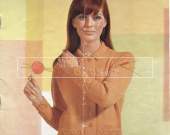 "Lady's Raglan Jacket 34-40"" DK Sirdar 2338 Vintage Knitting Pattern PDF instant download"