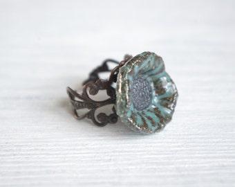 Turquoise poppy ring