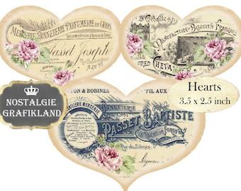 French Ephemera Hearts Vintage 3.5 x 2.5 inch Instant Download digital collage sheet H107