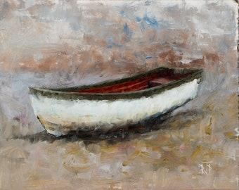 Row Boat Shore Beach Oil Painting Original 7.75x9.75