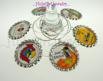ParrotHead, Jimmy Buffett inspired, Margaritaville, Parrot Head Wine Charm Sets/ Margarita Charm Sets