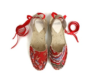 Espadrille Sandals. Lace up Espadrilles in Red Paisley. Summer Leather and Fabric Shoes. Boho Women's Sandals. Greek Sandals. Gift for Her