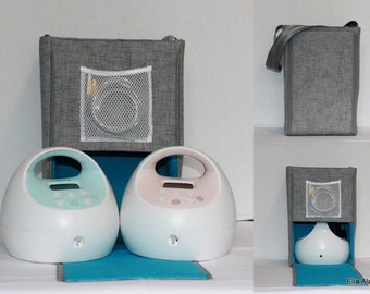 Ready to ship* Half size Ella Spectra Breast Pump bag in PP Jackson Lt Gray lined in Turquoise