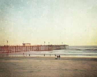 California Beach Photography, Pismo Beach, Pier, Sunset, Landscape, Coastal Decor, Ocean, Surf, Sand, Summer, Fine Art Print, Sea blue