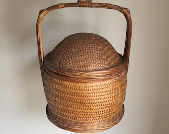 Vintage Rare Natural Brown Woven Seagrass Chinese Wedding Basket