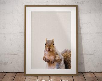 Woodland Squirrel, Nursery Forest Art, Forest Nursery Print, Squirrel Print Art, Forest Art Nursery, Nursery Woodland Print, Forest Decor