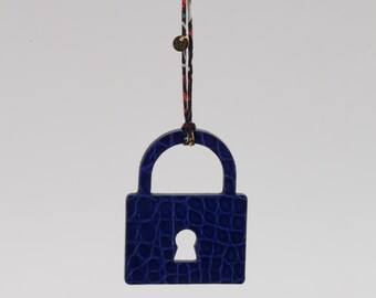 Padlock charm, leather padlock- blue-black padlock -  bag charm - leather bag charm - key chain - purse charm - handmade gift - crocodile