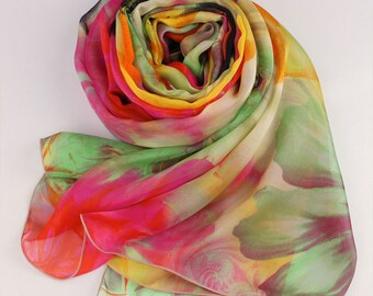 Bright Color Floral Printed Silk Chiffon Scarf - Floral Silk Scarf - AS62