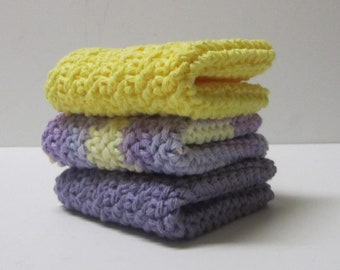 Crochet Cotton Washcloths 3 Set