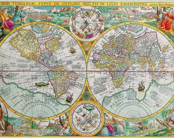 World Map, Map Print, Old World Map, Vintage World Map, Retro Decor, Vintage Map, Map of the World, Old Maps, Map Decor, Map Art