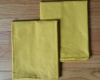 Pair of Vintage Mustard Yellow Standard Size Pillow Cases