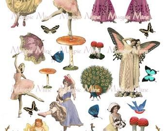 Just Dance feuille de Collage - danseurs lunatiques, oiseaux et papillons - Instant Download - téléchargement numérique - imprimable