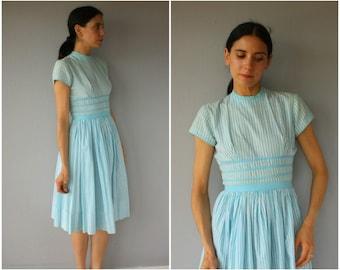 Vintage 50s Cotton Dress • 1950s Dress • 1950s Day Dress • 1950s Striped Dress • 50s Dress • Pastel Dress - (small/medium)