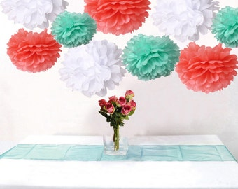 Bulk 18pcs Mixed Coral Mint White DIY Tissue Paper Flower Pom Poms Wedding Birtday Bridal Shower Hanging  Party Decoration