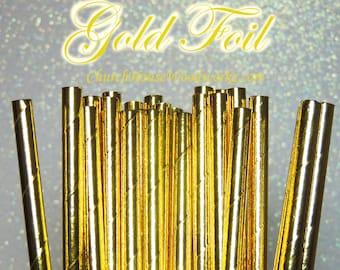 100 Gold  Paper Straws: Wedding, Baby Shower, Birthday Party, Bridal Shower, Wedding Venue, Table Decor, Gold Decor, Foil Gold