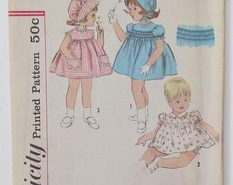 Girl's Dress Gathered To Yoke Sleeveless Puff Sleeves Smocking Detail Toddler Size 3 Used Vintage Sewing Pattern Simplicity 4375