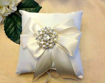 Ivory Ring Bearer Pillow - Ring Pillow - Pearl Ring Pillow - Ring Cushion - Ringbearer Pillow - White Bridal Pillow  - 30 Colors Available