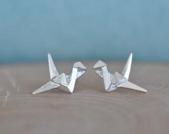 Crane Stud Earrings, Sterling Silver Bird Origami Earrings, Crane Earrings, Silver Crane Origami Earrings, Origami Jewelry, Jamber Jewels
