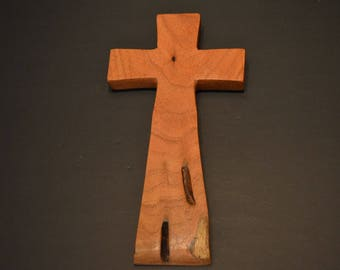 "Wood Cross; Christian Gift; Crooked Cross; Wedding Gift; Sympathy Gift; Mesquite;4.5""x9""x.5""; Free Ground Shipping USA; cc20-5061517"