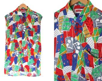 shirt psychedelic printed tunic sleeveless