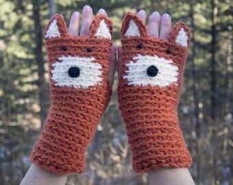 Fox Fingerless Gloves ~ Handmade