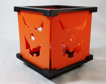 LED Tea Light Candle Holder - Scary Halloween Jack-O-Lantern