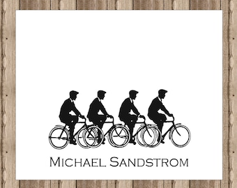 PERSONALIZED NOTECARDS Men on Bicycles Boxed Set / Sophisticated Vintage Image Notecards for Men / Travel Notecard / Stationery Set of 10