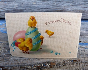 Antique 1900/1910s French embossed postcard   illustrated chicks & eggs /Eastern