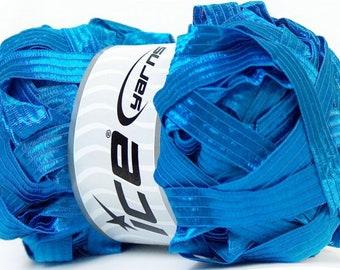 Ice Yarn Ribbon XL Blue 100gr