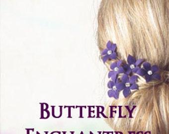 Purple Hair Piece, Bridal Hair Flowers, Hair Accessories, Wedding Head Piece - 6 Purple Harper Jasmine Flower Hair Pins - Rhinestone Centers