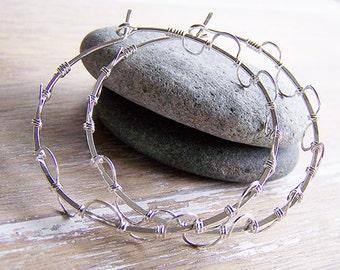 Sterling Silver Hoop Earrings, Wire Wrapped Sterling Hoops, Lace Hoops, Silver Hoops, Hammered Hoop Earrings