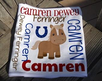 Personalized Horse Baby Blanket - Boy Horseshoe Receiving Blanket - Custom Name Horse Baby Blanket - Newborn Swaddle - Baby Photo Prop