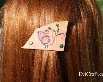 Handmade Leather French hair barrette, natural Leather Hair clip, kids Hair Accessory, bird pink leather hair accessory, bubbles