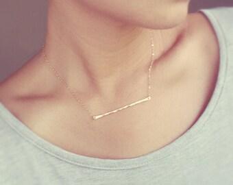 Thin Gold Bar Necklace - Hand Hammered 14K Gold Filled Bar - LONG