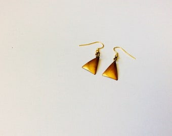 Raw Brass Triangle Earrings
