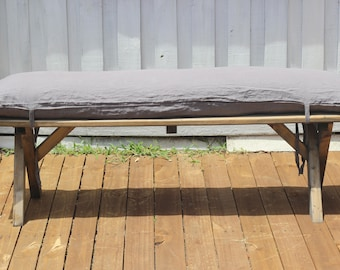 Linen Bench Cushion Pad Cover With Feather Insert in Medium Gray