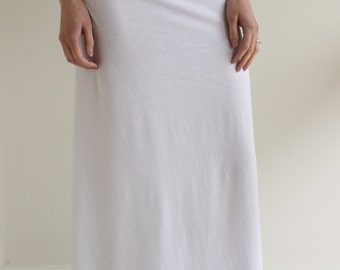 Women's Maxi Skirt with Yoga Style Waist Band // colors available // cotton jersey knit // long skirt // white skirt