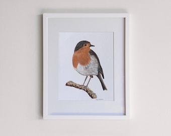 Robin Original Framed Painting - Acrylic