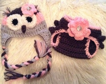 0-3 month Owl diaper cover and hat