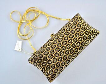 Swarovski ELEMENTS Gold Black Leopard pattern animal Crystal Minaudiere Metal rectangle clutch purse bag