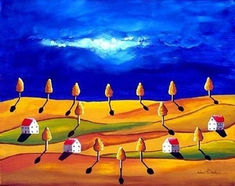 Golden Night Landscape Folk Art