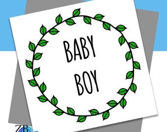 Baby Boy Wreath Card - New Baby - New Parent - Baby Shower - Blank Card - ZB Designs