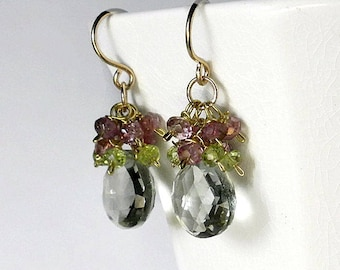 Green Amethyst Earrings Gemstone Cluster Earrings Pink Green Gemstone Earrings Tourmaline Earrings Prasiolite Gold Filled