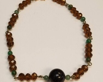 Amber and Green Anklet