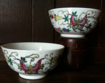 Vintage Chinese Butterfly Bowls Rice Noodle circa 1950's / English Shop