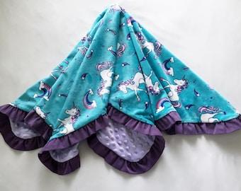 Baby Blanket Unicorns Minky Corduroy Ruffle Medium Size Turquoise Purple