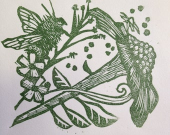"Linocut Nature Art- Delicate nature inspired hand pressed block print ""Yes"""