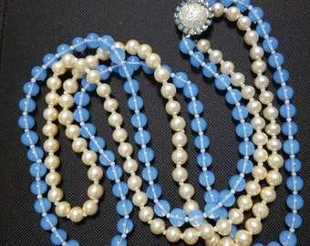Vintage Glass Translucent Blue Glass Pearl Double Strand Necklace